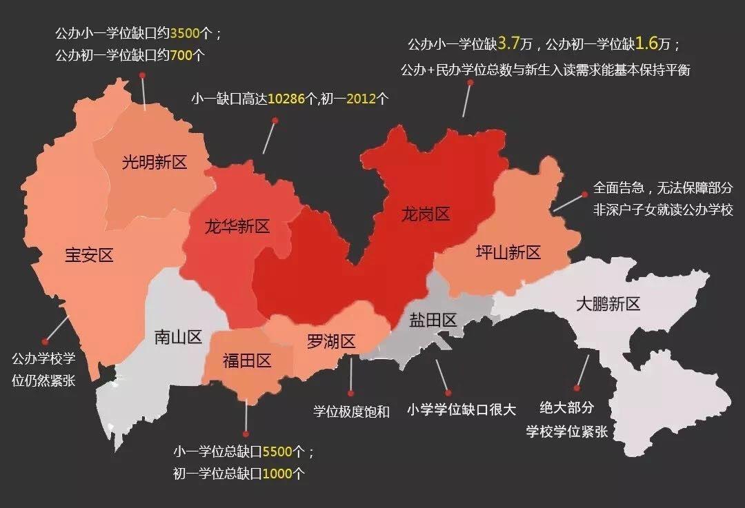 深圳各区学位缺口地图图片